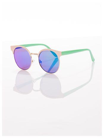FASHION okulary przeciwsłoneczne KOCIE OCZY stylizowane na FENDI zielono-złote                                  zdj.                                  2
