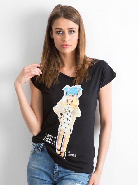 FUNK'N'SOUL Czarny t-shirt z nadrukiem