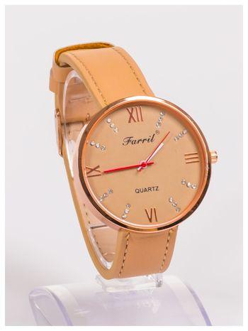 Farril -Klasyka i elegancja beżowy damski zegarek retro z cyrkoniami -Rose gold                                  zdj.                                  2