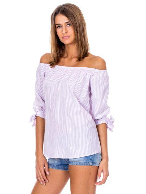 Fioletowa bluzka hiszpanka w paski                              zdj.                              5