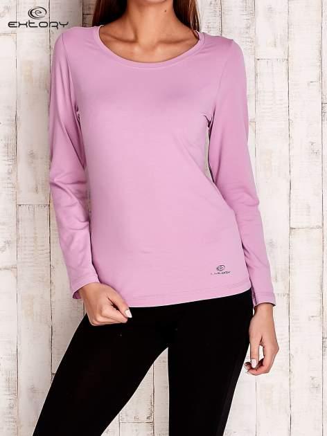Fioletowa gładka bluzka sportowa z dekoltem U PLUS SIZE                                  zdj.                                  1