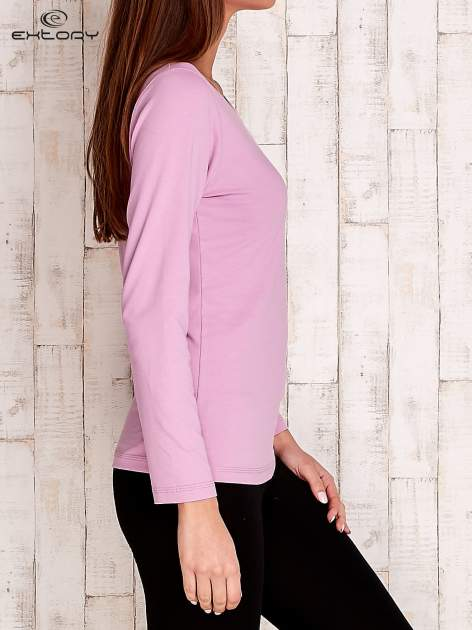 Fioletowa gładka bluzka sportowa z dekoltem U PLUS SIZE                                  zdj.                                  3