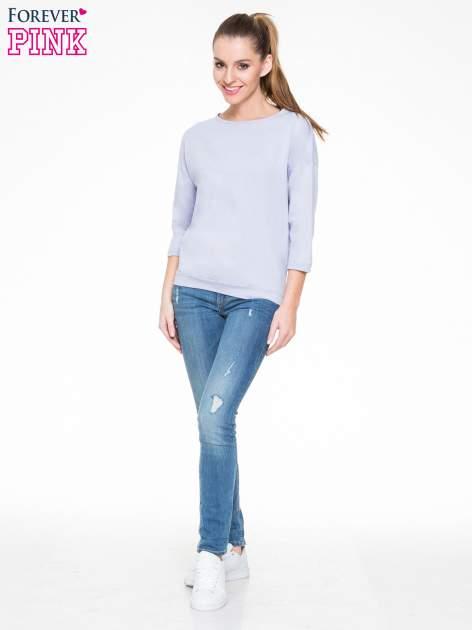 Fioletowa gładka bluzka z luźnymi rękawami 3/4                                  zdj.                                  2