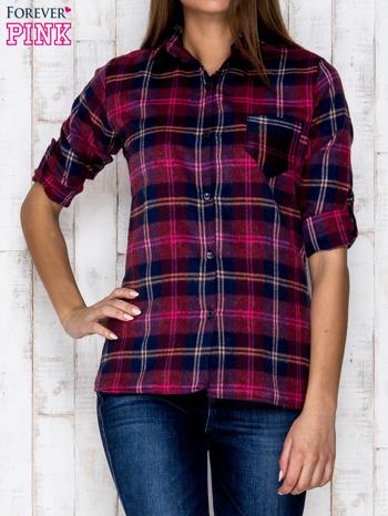 Fioletowa koszula w kolorową kratę                              zdj.                              1