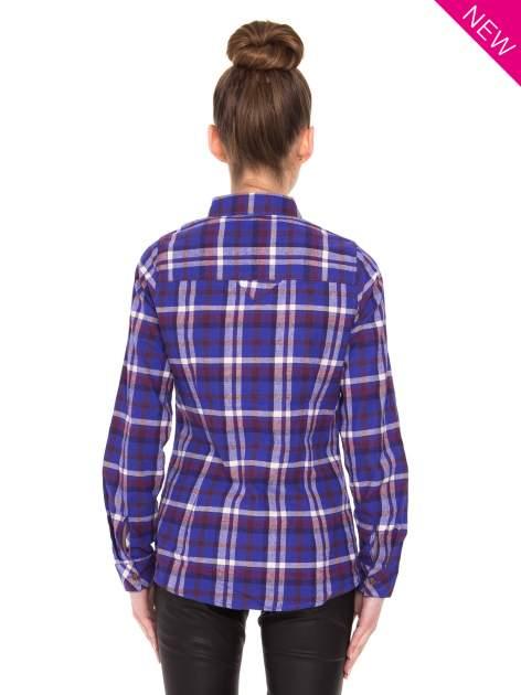 Fioletowa koszula w kratę z kieszonką z przodu                                  zdj.                                  4