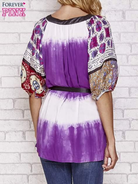 Fioletowa koszula wiązana w pasie z ozdobnymi kamieniami                                  zdj.                                  2