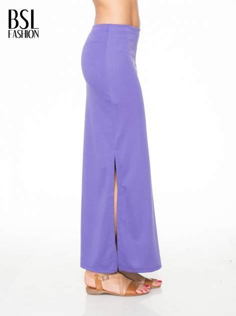 Fioletowa maxi spódnica z rozcięciem z boku                                  zdj.                                  3