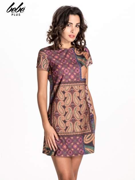 Fioletowa mini sukienka w patchworkowy wzór                                  zdj.                                  1