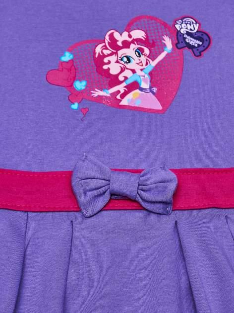 Fioletowa sukienka dla dziewczynki z kokardką i kieszonkami MY LITTLE PONY                              zdj.                              4
