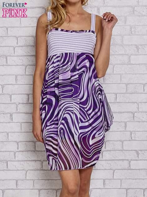 Fioletowa sukienka przed kolano na cienkich ramiączkach                                  zdj.                                  1