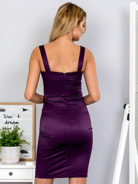 Fioletowa sukienka z cekinowymi wstawkami                              zdj.                              2