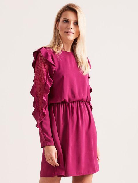Fioletowa sukienka z falbanami na rękawach                              zdj.                              1