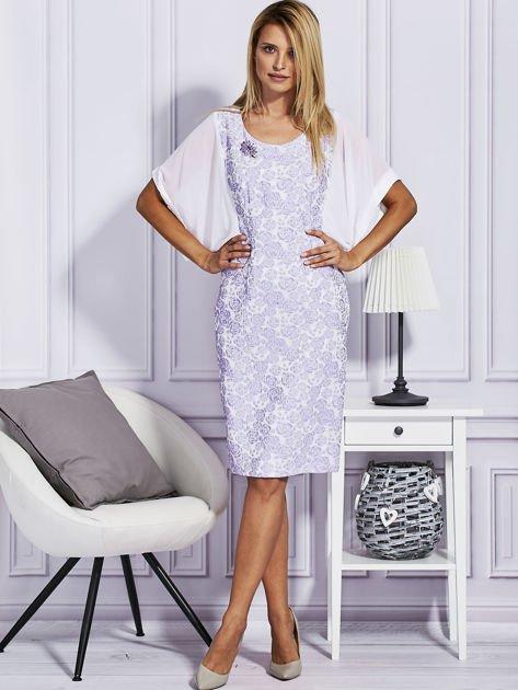 Fioletowa sukienka z luźnymi rękawami                                   zdj.                                  4