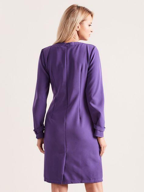 Fioletowa sukienka z wycięciem                               zdj.                              2