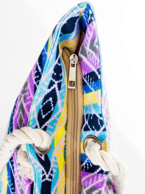Fioletowa torba plażowa w azteckie wzory                                  zdj.                                  8