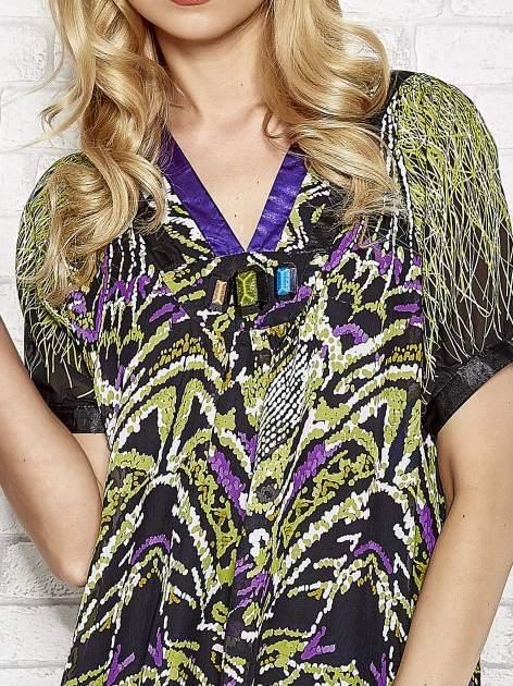 Fioletowa wzorzysta sukienka z kamieniami                                  zdj.                                  5
