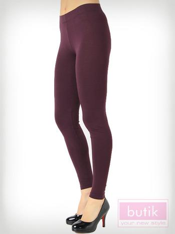 Fioletowe gładkie legginsy bawełniane                                  zdj.                                  2