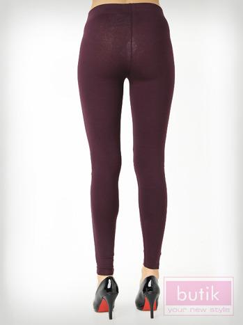 Fioletowe gładkie legginsy bawełniane                                  zdj.                                  3