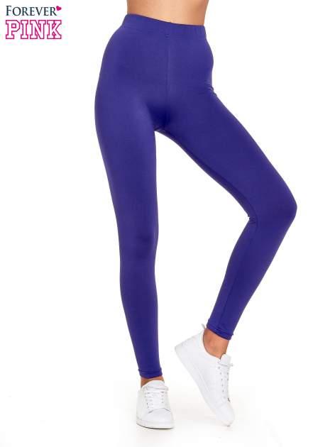 Fioletowe legginsy basic z lekkim ociepleniem
