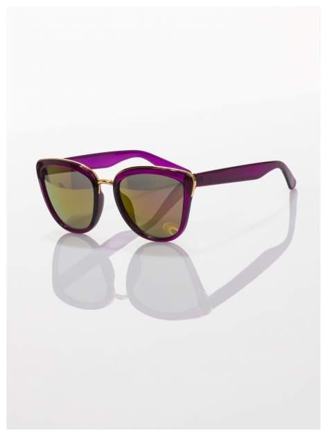 """Fioletowe okulary przeciwsłoneczne w stylu """"kocie oczy"""" lustrzanka  ze złotą obramówką LATO 2016                                  zdj.                                  1"""