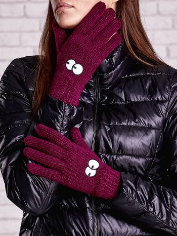 Fioletowe rękawiczki z nadrukiem oczu                                  zdj.                                  1
