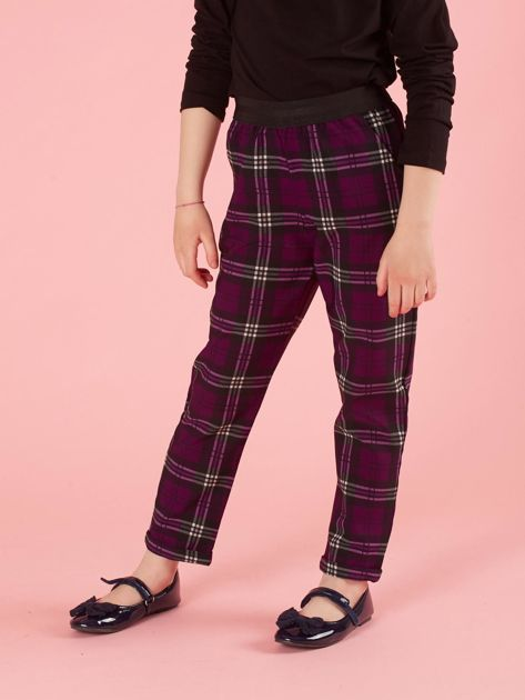 Fioletowe spodnie dziewczęce w kratę