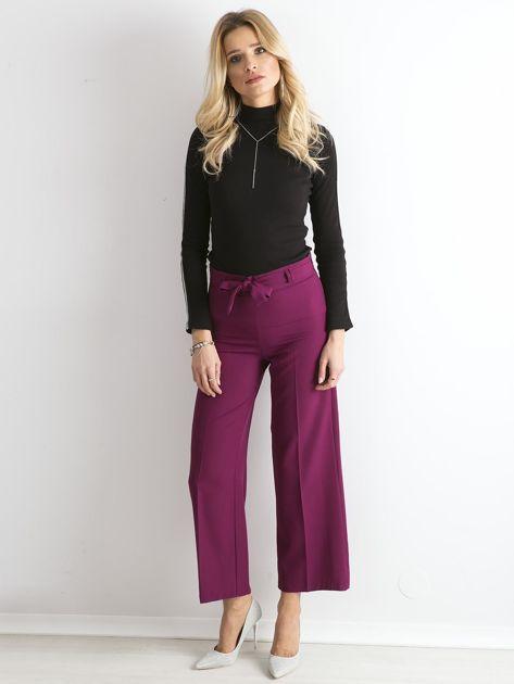 Fioletowe szerokie spodnie z wiązaniem                              zdj.                              4