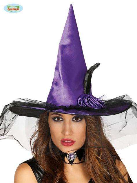 Fioletowo-czarny kapelusz czarownicy                              zdj.                              1