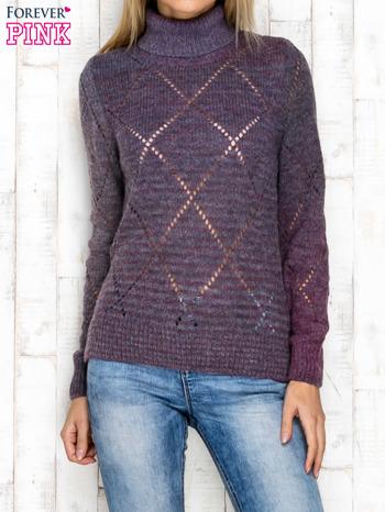 Fioletowy ażurowy sweter z golfem                                  zdj.                                  1