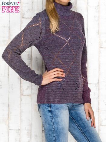 Fioletowy ażurowy sweter z golfem                                  zdj.                                  3