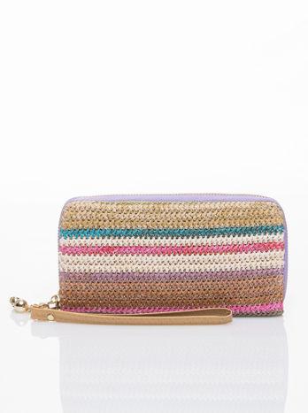 Fioletowy pleciony portfel w paski