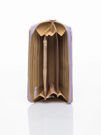 Fioletowy pleciony portfel w paski                                  zdj.                                  4
