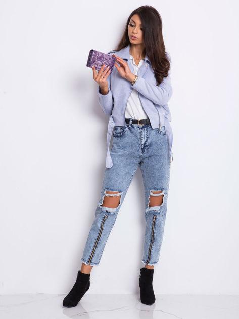 Fioletowy portfel damski we wzory                              zdj.                              4