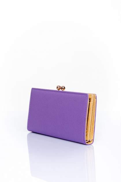 Fioletowy portfel z biglem efekt saffiano                                   zdj.                                  2