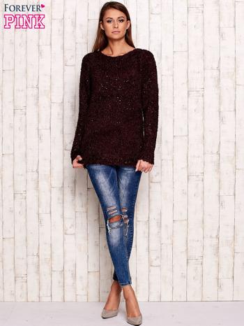 Fioletowy sweter fluffy z cekinami                                  zdj.                                  2