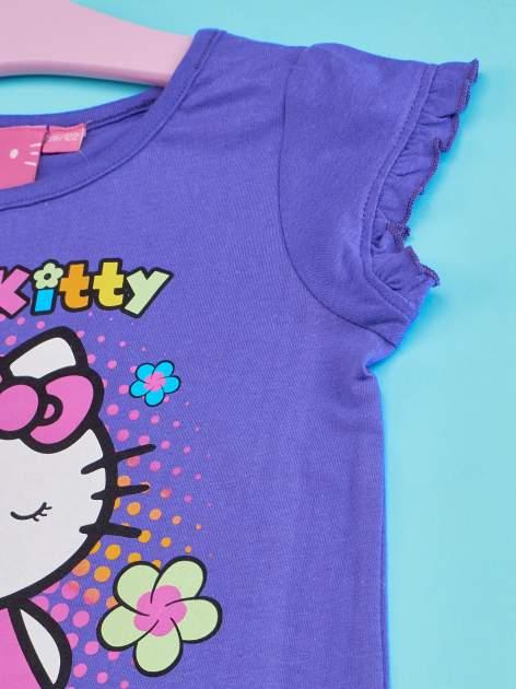 Fioletowy t-shirt dla dziewczynki HELLO KITTY z wiązaniem na dole                                  zdj.                                  4