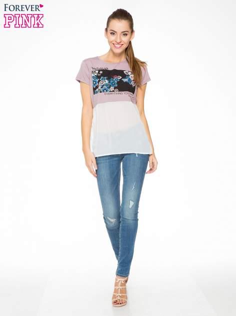 Fioletowy t-shirt z siateczkowym białym dołem                                  zdj.                                  5