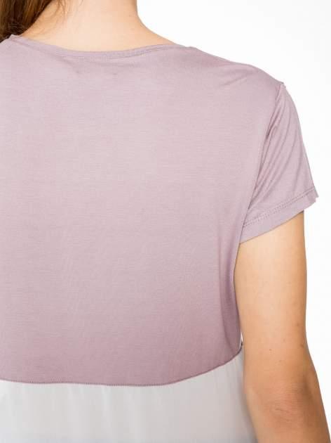 Fioletowy t-shirt z siateczkowym białym dołem                                  zdj.                                  9