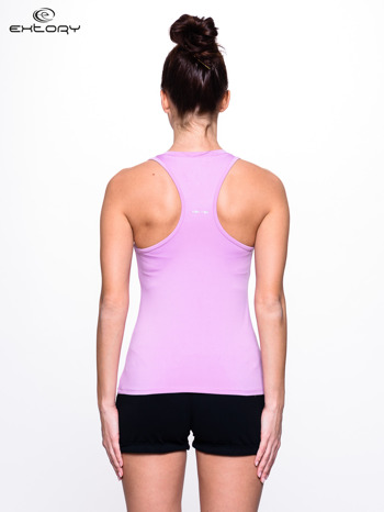 Fioletowy top fitness z dekoltem V                                  zdj.                                  2