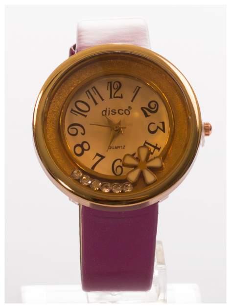 Fioletowy zegarek damski z cyrkoniami na skórzanym, lakierowanym pasku                                  zdj.                                  1