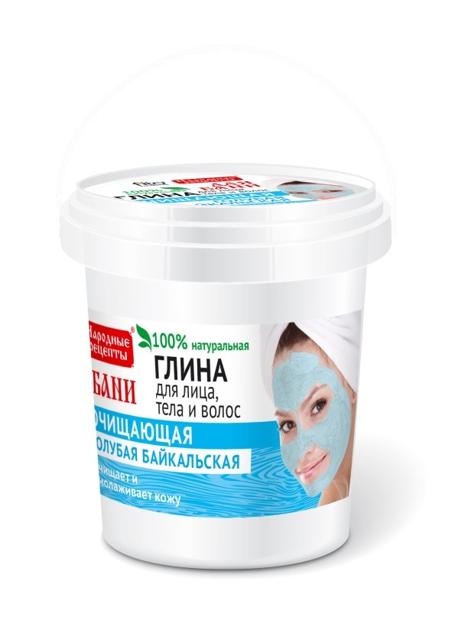 Fitocosmetics Przepisy Ludowe Glinka bajkalska niebieska do twarzy, ciała i włosów 155 ml