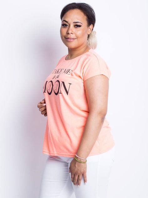 Fluo brzoskwiniowy t-shirt plus size Moonraker                              zdj.                              3