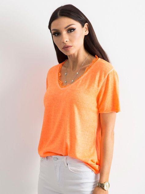 Fluo pomarańczowa bluzka z krótkim rękawem                              zdj.                              3