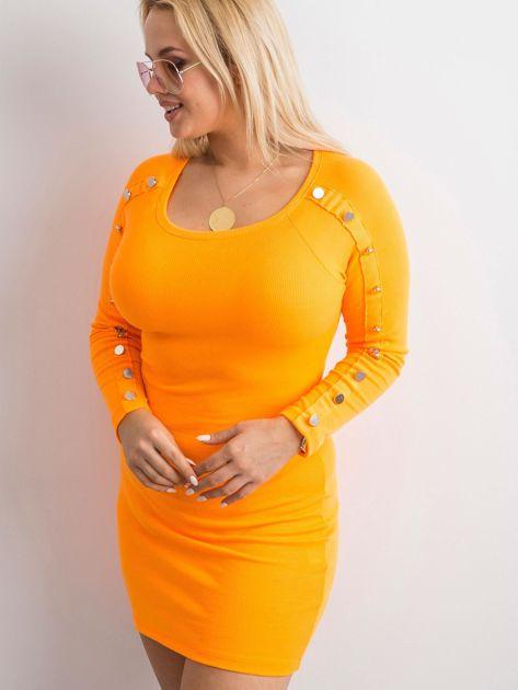 Fluo pomarańczowa prążkowana sukienka z guzikami                              zdj.                              3