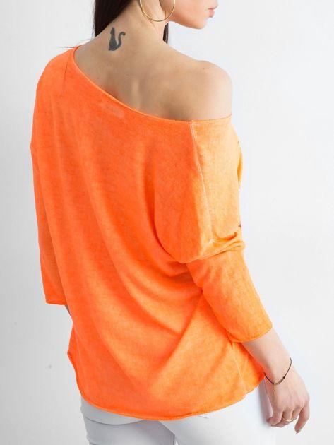 Fluo pomarańczowy cienki sweter z nadrukiem                              zdj.                              2