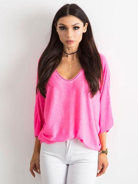 Fluo różowa damska bluzka oversize                              zdj.                              1