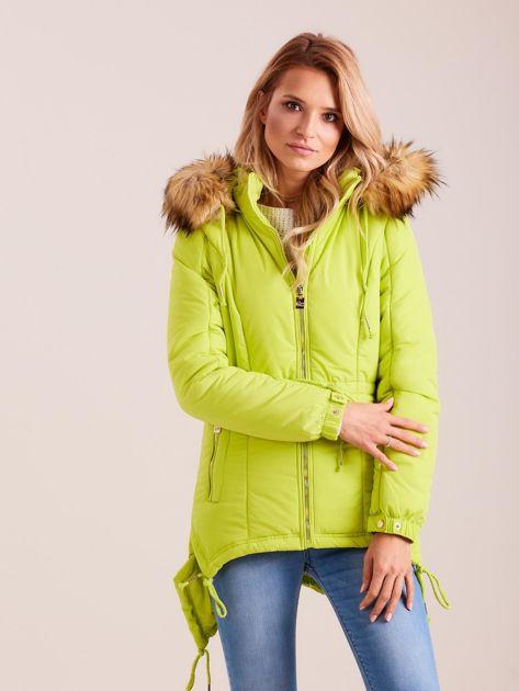 Fluo zielona damska kurtka na zimę                              zdj.                              1