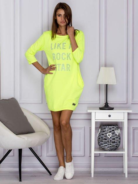 Fluo zielona sukienka LIKE A ROCK STAR                                  zdj.                                  4