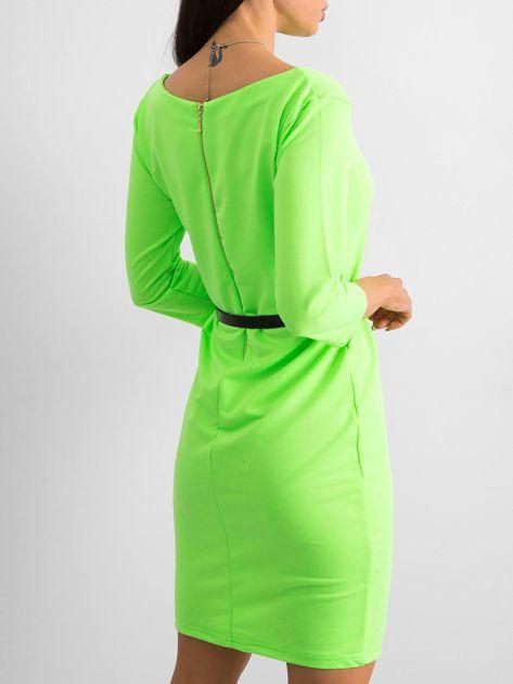 Fluo zielona sukienka z bawełny                              zdj.                              2