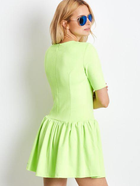 Fluo zielona zamszowa sukienka                              zdj.                              2